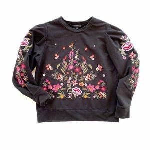 {Anthro. Drew} Embroidered Poof Sleeve Sweatshirt